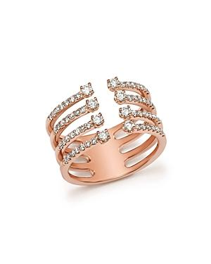 Diamond Four Row Open Ring In 14k Rose Gold, .65 Ct. T.w. - 100% Exclusive