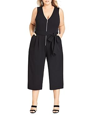 City Chic Plus Sleeveless Zip-front Cropped Jumpsuit
