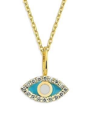 Own Your Story 14k Yellow Gold Diamond & Enamel Evil Eye Pendant Necklace, 18