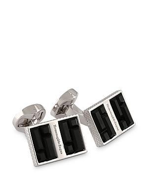 Zegna Swarovski Elements Rhodium Plated Signature Cufflinks