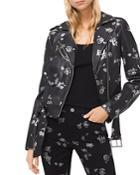 Michael Michael Kors Metallic Rose Print Leather Moto Jacket