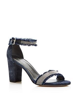 Stuart Weitzman Chaingang Frayed Denim Ankle Strap High Heel Sandals