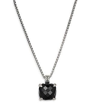 David Yurman Sterling Silver Chatelaine Pendant Necklace With Black Onyx & Diamonds, 18