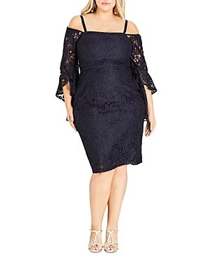 City Chic Plus Mystic Lace Bell Sleeve Dress