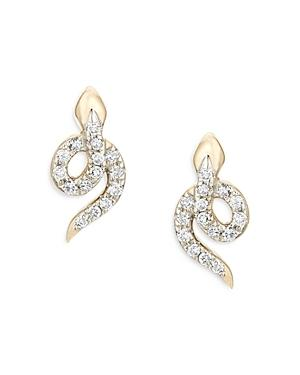 Adina Reyter 14k Yellow Gold Diamond Snake Stud Earrings