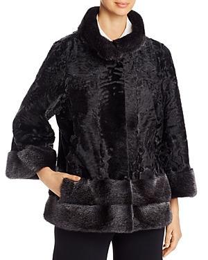 Maximilian Furs Persian Lamb Fur & Mink Fur-trim Short Jacket - 100% Exclusive