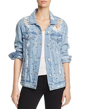 Sunset & Spring Studded Distressed Denim Jacket - 100% Exclusive
