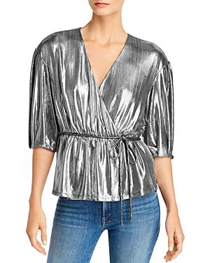 Rebecca Minkoff Mary Gathered & Pleated Metallic Wrap Top