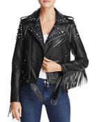 Aqua Studded Fringed Faux Leather Moto Jacket - 100% Exclusive
