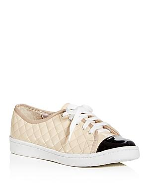 Paul Mayer Women's Samba Quilted Patent Leather Lace Up Sneakers