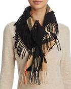 Burberry Giant Fringe Check Cashmere Scarf
