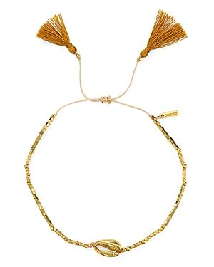 Chan Luu Tasseled Shell Station Bracelet In 18k Gold-plated Sterling Silver