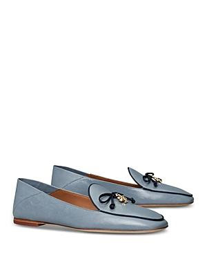 Tory Burch Women's Tory Square Toe Logo Charm Leather Loafers