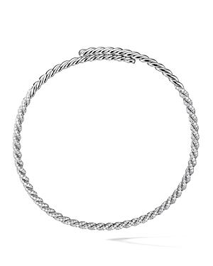 David Yurman Paveflex Necklace With Diamonds In 18k White Gold