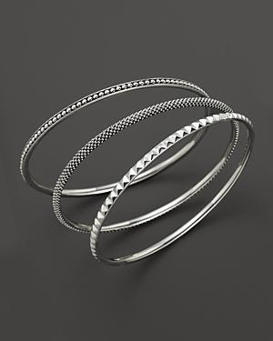 Lagos Sterling Silver Caviar And Sugarloaf 3 Bangle Set