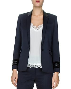 The Kooples Leather-trimmed Single-button Blazer