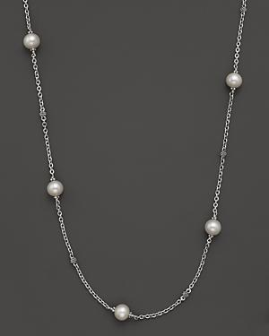 Lagos Luna Pearl Small Link Caviar Ball Chain Necklace, 18