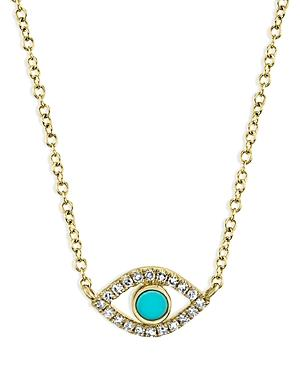 Moon & Meadow 14k Yellow Gold Turquoise & Diamond Eye Pendant Necklace, 18 - 100% Exclusive