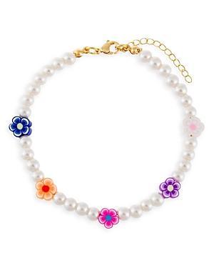 Adinas Jewels Neon Multicolor Flower & Faux Pearl Beaded Ankle Bracelet In Gold Tone