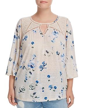 Lucky Brand Plus Lace-inset Floral Top