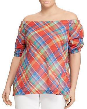 Lauren Ralph Lauren Plus Madras Plaid Off-the-shoulder Top
