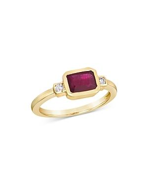 Bloomingdale's Ruby Bezel & Diamond Ring In 14k Yellow Gold - 100% Exclusive