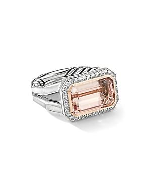 David Yurman Sterling Silver Novella Statement Ring With Morganite, Pave Diamonds And 18k Rose Gold