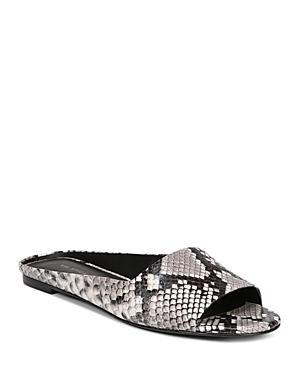 Via Spiga Women's Hana Open Toe Snakeskin-embossed Leather Slide Sandals