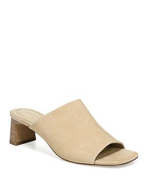 Vince Women's Pennie Square Toe Mid Heel Suede Sandals