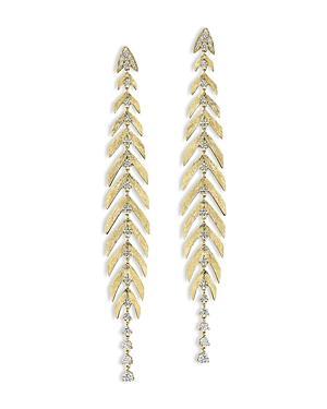 Hueb 18k Yellow Gold Bahia Diamond Leaf Drop Earrings