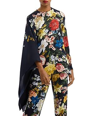 Oscar De La Renta Floral Print Cape Sleeve Silk Blouse