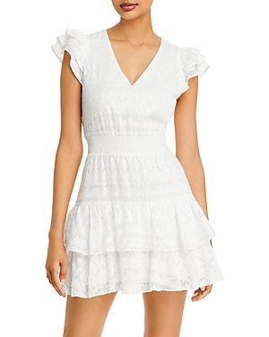 Alice And Olivia Markita Tiered Ruffle Mini Dress