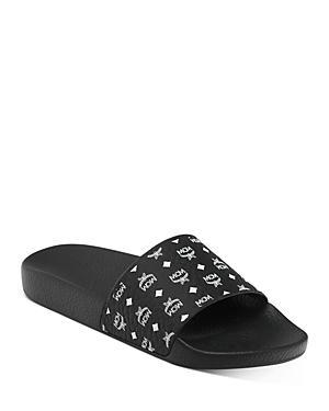 Mcm Women's Monogram Logo Print Slide Sandals