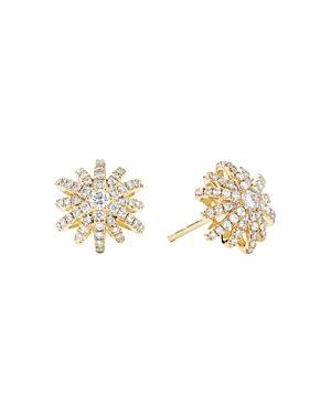 David Yurman 18k Yellow Gold Starburst Small Stud Earrings With Pave Diamonds