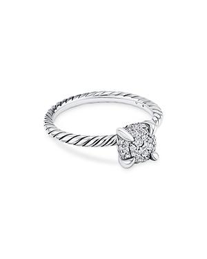 David Yurman Sterling Silver Petite Chatelaine Diamond Pave Cable Ring