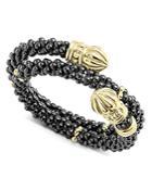 Lagos Gold & Black Caviar Collection 18k Gold & Ceramic Wrap Ring