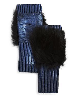 Jocelyn Fox Fur Trim Metallic Fingerless Gloves