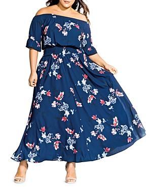 City Chic Plus Lotus Love Off-the-shoulder Maxi Dress