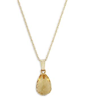 Bloomingdale's Citrine Briolette Pendant Necklace In 14k Yellow Gold, 18 - 100% Exclusive