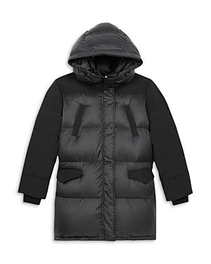 The Kooples Hooded Mixed Media Down Coat