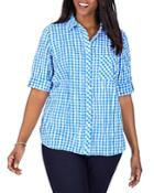 Foxcroft Plus Gingham Crinkle Shirt