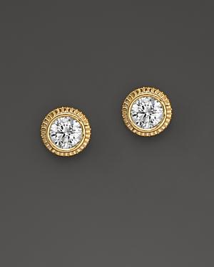 Diamond Milgrain Stud Earrings In 14k Yellow Gold, 0.25 Ct. T.w.