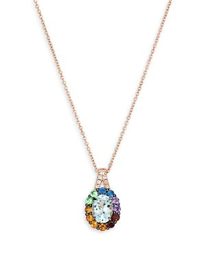 Bloomingdale's 14k Rose Gold Multi Gemstone & Champagne Diamond Pendant Necklace, 18 - 100% Exclusive