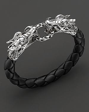 John Hardy Naga Black Woven Leather Dragon Bracelet