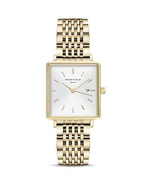 Rosefield The Boxy Gold-tone Link Bracelet Watch, 26mm X 28mm