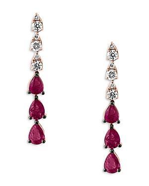 Bloomingdale's Ruby & Diamond Linear Drop Earrings In 14k Rose Gold - 100% Exclusive