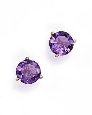 Amethyst Stud Earrings In 14k Rose Gold