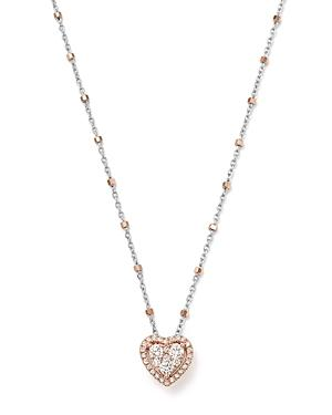 Bloomingdale's Diamond Heart Pendant & Satellite Chain Necklace In 14k Rose & White Gold, 0.40 Ct. T.w. - 100% Exclusive