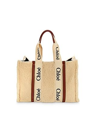 Chloe Woody Leather Trimmed Large Shearling Tote