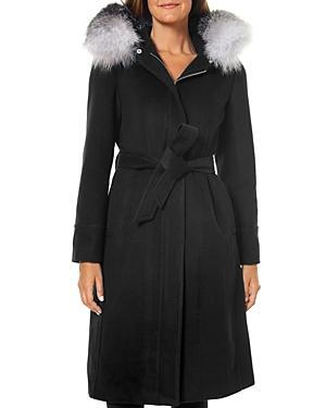 One Madison Fur Trim Wrap Coat